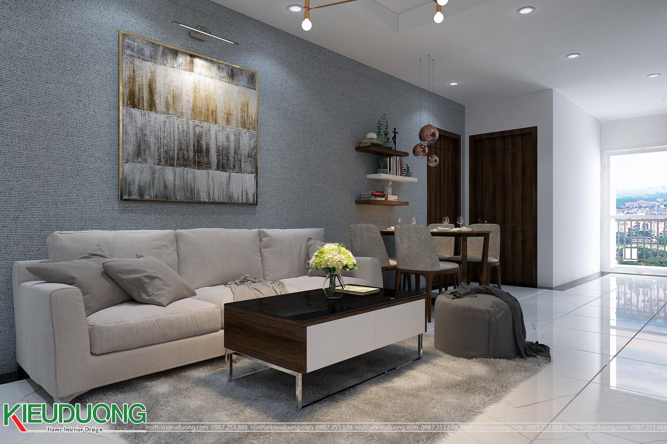 Thiết kế nội thất căn hộ 70m2 chung cư Athena Complex - Phòng khách bếp
